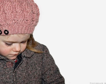 CROCHET PATTERN - Girl's Button and Cable Tam - Instant Download (PDF)
