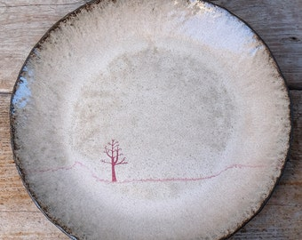 Black Ceramic Winter Tree Platter