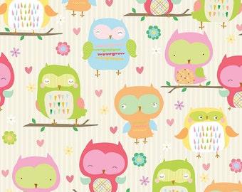 Riley Blake Owl & Co Cream Flannel Fabric, 1 yard