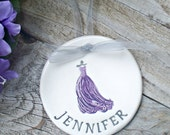 Bridesmaid Gift Ornament Personalized - Flowing Gown,  Bridesmaid Keepsake, Ceramic Ornament, Dated Ornament