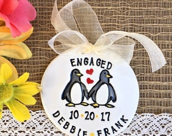 Engagement Gift Ornament - Penguins in Love, Engagement Ornament, Wedding Ornament, Personalized Ornament