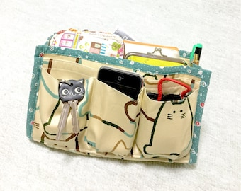 Purse Organizer / Inner Purse / Purse Insert / Bag in Bag --- Fat Cat - Green