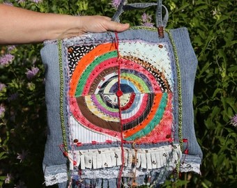 Recycled Denim Bag Tote Purse Multicolored Quilted Beaded Embroidered Boho Scripture Jeremiah Red Handmade