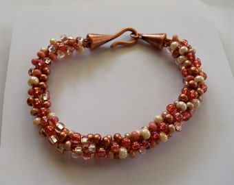 Painted Desert Southwestern Sandstone, Peach, Pink,  Rose, Coppery Mix of Quality Czech Beads, Kumihimo Bracelet,