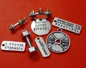 8 FITNESS WEIGHT TRAINER Barbell, Dumbbell, Weight, I choose strength, strong is beautiful, never give up, willpower, Charms