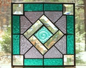 Stained Glass Panel - Square - Geometric Quilt Type Pattern in Teal and Purple - Pressed Glass Iridescent Teal Center Jewel