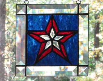 Stained Glass Patriotic Panel - Square with Beveled Edge and 5 Point Center Beveled Star, Cobalt Blue Background, and Red Accents