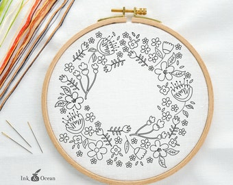 Floral wreath, sampler Digital hand embroidery pattern , PDF instant Download