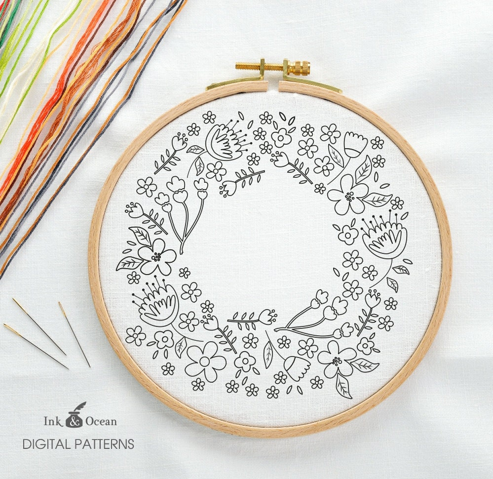 Floral wreath sampler digital hand embroidery pattern