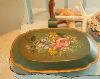 Vintage Cottage Tole Painted Roses Paris Chic Silent Butler by Nashco