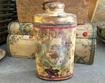 Antique Floral Perfumed Talc Powder Tin Violet Dulce Paris Perfume