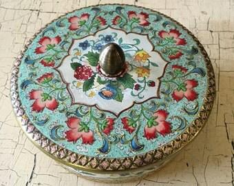 Vintage Daher Pink Round Rose Tin Biscuit Box