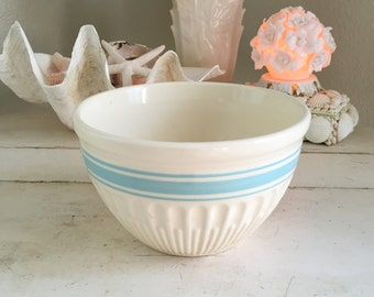 Vintage Antique Hull Pottery Fine Ribbed Turquoise Aqua Teal Blue Stripe Mixing Bowl