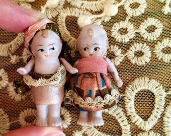 Girl with Silk Dress and Boy Tiny Doll Pair Twins