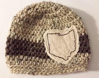 Crochet Hat, Ohio, Light Brown Tweed, Dark Brown Tweed, Handmade Beanie