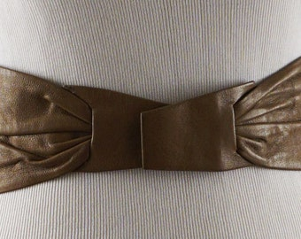 Vintage 1980s Anne Klein Taupe Leather Adjustable Belt