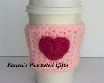 Coffee Cup Cozy, Crochet Coffee Sleeve, Pink Reusable Coffee Cozy, Pink Heart Coffee Cozy, Handmade Crochet Coffee Cozy, Heart Coffee Cozy