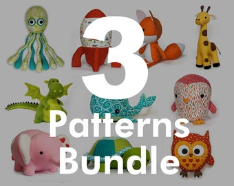 PDF 3 Patterns Bundle - choose any 3 stuffed toy patterns from my shop