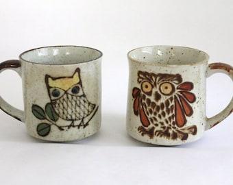 Stoneware Owl Mugs