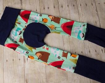 Maxaloones, happy camper,  woodland cloth diaper pants, grow with me pants, babywearing pants