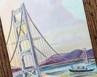 Golden Gate Bridge San Francisco California Vintage Original Small Frame Worthy Travel Illustrated Book Page
