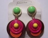 RESERVED for CAROLE - Vintage 1970's NOS Hoop Dangle Plastic and Metal Clip On Earrings in Green Pink Orange and Yellow
