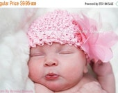 SALE Pink Baby Hat - Newborn Baby Beanie Hat - Pink Infant Hat - Pink Hat With Pink Flower Clip - Photo Prop