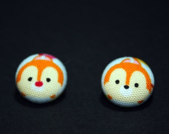 Chip and Dale Tsum Tsum Button Earrings - Disney Post Fabric Covered Studs