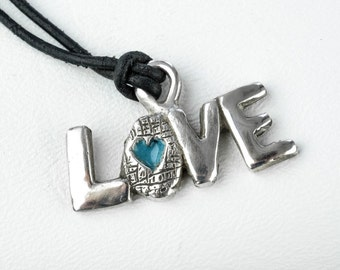 Love Necklace Sterling Silver Blue Enamel Leather Cord