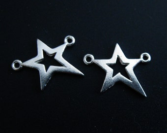 Sterling Silver Charms, Silver Connector, Sterling Silver Tiny Star Connector Pendant -  Silver Star Charm - 18.5mm (2 pcs) SKU: 201271