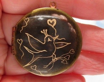 Engraved Whimsical Bird of love on vintage brass locket version three valentine gift