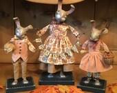 Primitive Folk Art Thanksgiving Fall Bunny Rabbit Doll PFATT