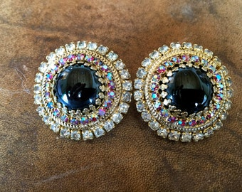 Classy Vintage Signed Hobe Clip On Earrings Black Center Iridescent and Red Rhinestone Surround