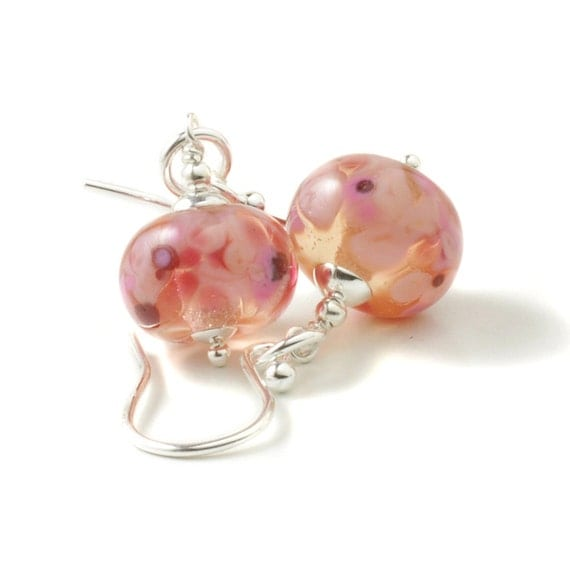 Pink Earrings | Cherry Blossom Earrings | Handmade Lampwork Glass Earrings | Pink Sterling Silver Earrings