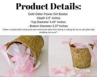 Flower Girl Basket + Gold Glittered Flower Girl Basket with ribbon handle