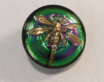 Iridescent Purple & Green with Gold Luster DRAGONFLY Button