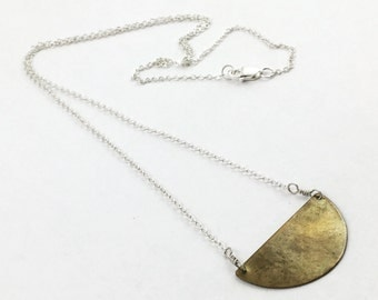 Sterling Silver and Brass Petite Crescent Necklace by Maribelle Campa