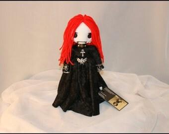 Mini 11 inch Vampire Hand Stitched Rag Doll Creepy Gothic Folk Art by Jodi Cain Tattered Rags