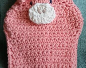 Pig Bath Mitt - Crocheted, Puppet, Bath Mitt, Kid's Washcloth, Baby Shower Gift, Pig