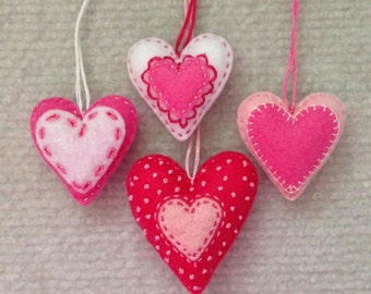 Felt heart ornaments in Hot pink, pink and white. Set of 4