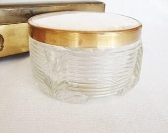 vintage vanity cosmetic jar glass powder dish