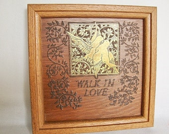 vintage walk in love birds picture biblical framed wall plaque wood and brass