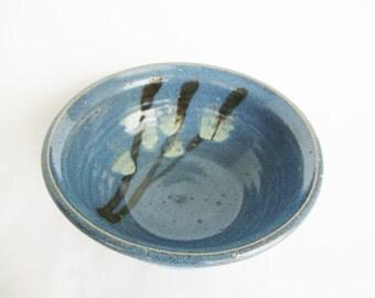 vintage studio pottery blue bowl pussy willow stoneware