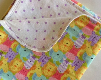 SALE Bright Animal and Polka Dots Large Flannel Double Sided Receiving Blanket