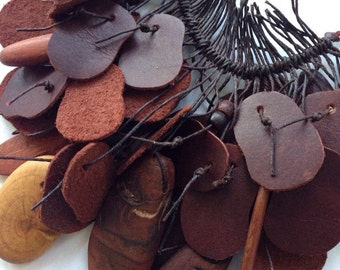 Recycled Leather and Bead Necklace Kawa by Mainichi