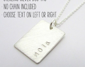 Sterling Silver Dog Tag, No Chain, Rectangle Name Pendant, Silver Word Charm, Personalized Custom by E. Ria Designs
