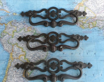 SALE! 3 large vintage open design curvy brass metal pull handles