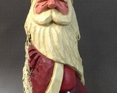 HAND CARVED original Santa with blue star from 100 year old Cottonwood Bark.
