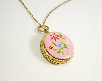 Hand Painted Enameled Locket Necklace in Pink and Gold