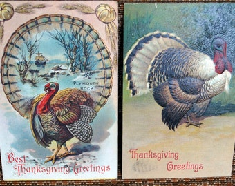 Pair of Vintage Turkey Postcards - Thanksgiving Greetings - Antique Cards